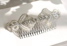Emmy London Ophelia Comb with Peals beads and sequins for bridal wedding hair