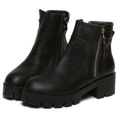 Black Chunky Heel Zipper Boots (€34) ❤ liked on Polyvore featuring shoes, boots, black, botas, chunky platform boots, black zip boots, chunky heel platform shoes, side zipper boots and round toe boots