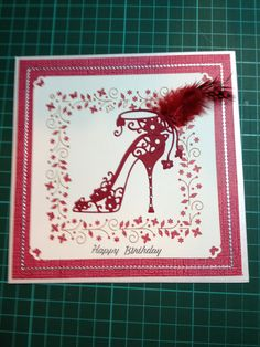 Shoe card Tattered Lace Cards, Birthday Cards For Women, Scrapbook Cards, Scrapbooking, Craft Cards, Card Crafts, Beautiful Handmade Cards, Stamping Up Cards, Heartfelt Creations