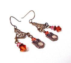 Owl earrings  brass owl earrings  chandelier by sparklecityjewelry