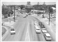 Broadway and Hildebrand Intersection, San Antonio, Texas, 1959 Brackenridge Park, Commerce Street, Sky Ride, San Antonio River, Houston Street, Texas History, Vintage Photos, The Good Place, Street View