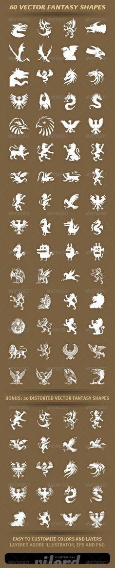 60 Fantasy Shapes #GraphicRiver Set of 40 vector f: