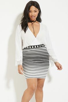 Plus Size Striped Pencil Skirt | Forever 21 PLUS - 2000185575