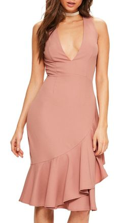 plunge ruffle body-con dress by MISSGUIDED. Dinner and dancing became a little more interesting in this curve-enhancing plunge crepe dress with sashaying ruffles...