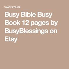 Busy Bible Busy Book 12 pages by BusyBlessings on Etsy