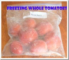 Freezing Whole Tomatoes for Super Quick Marinara Sauce Take your whole tomatoes and put them in a freezer safe bag, and freeze! When making sauces, after simmering for a bit your tomatoes skin will slip off, and you can pull it out with tongs. Super Healthy Kids, Healthy Meals For Kids, Healthy Recipes, Healthy Foods, Freezer Cooking, Freezer Meals, Cooking Tips, Freezer Recipes, Recipes