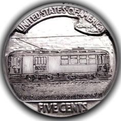 TOM MAHER HOBO NICKEL - TROLLEY #2 - BUFFALO NICKEL REVERSE CARVING Hobo Nickel, Coin Collecting, Silver Coins, Buffalo, Hand Carved, Carving, Train, Money, Cars