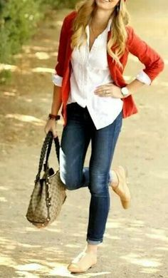 button up with colorful cardigan, dark skinny jeans