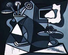 Vase with flowers, 1943 by Pablo Picasso, Neoclassicist & Surrealist Period. Surrealism. still life