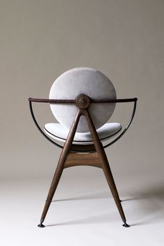 Chair Design, Furniture Design, Circle Chair, Stainless Steel Fittings, Brass Fittings, Plywood Chair, Wood Joinery, Dark Brown Leather, Messing