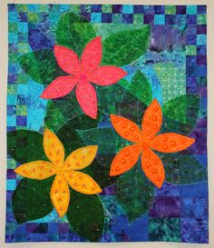 Flower art quilt by Pat Nelson. Mountain Art Quilters: January 2014.