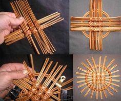 Round decorative panels by Alexandr Khomyak. Newspaper Craft Basket, Newspaper Crafts, Paper Basket, Paper Weaving, Weaving Art, Willow Weaving, Basket Weaving, Paper Shaper, Pine Needle Baskets