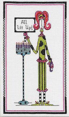 Dolly Mama's All Lit Up Hanukkah Cross Stitch Kit | eBay
