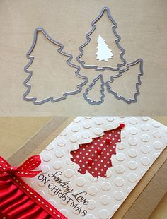 """I made Red dot Christmas Tree Card with Sizzix Dies Trees Christmas! I strongly recommend this die for Christmas card making. Personally I think this tree die is the best die among Christmas tree dies & punches.  Designs range in size from 1 3/8"""" x 2"""" to 4 3/4"""" x 5 3/8""""."""