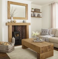 Oak Beam Fire Surround With Solid Rustic Character - Banbury Cottage Living Rooms, Living Room Grey, Living Room Interior, Home Living Room, Living Room Designs, Log Burner Living Room, Living Room With Fireplace, Oak Fire Surround, French Country Living Room
