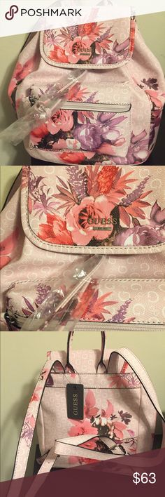 Guess mini backpack NWT Brand  New floral mini backpack. So cute for Spring/Summer. Guess Bags Backpacks