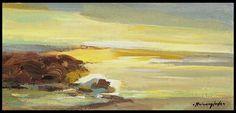 Ruizanglada (1929-2001). Marina. En las rocas del mar en Torredembarra. 34x16cm 1999.  Es la luz y color en los paisajes de Ruizanglada en su última época, con mayor espacio a la esperanza y a la belleza, el pintor se sentía satisfecho con los reconocimientos a su carrera profesional y lo que le quedaba por afrontar eran sus últimos años, en este formato estira la sensación, la alarga como un regalo, ofrece llevarnos por ese largo horizonte... https://www.facebook.com/ruizanglada.pintura