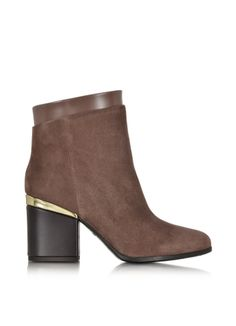 Hogan Brown Suede and Patent Leather Zip Ankle Boot