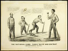 librarycompany:    In honor of Election Day in the United States we #Flashback to 1860 with this political cartoon titled The National Game Three Outs and One Run which compares the results of the 1860 presidential election with a completed baseball game influenced by the candidates position on the extension of slavery.   The winner Lincoln representing the Wide Awake Club holds a rail-shaped bat labeled Equal Rights and Free Territory and stands on Home Base giving pointers to his…