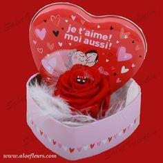 Bouquet Saint Valentin Roses Boite Je T'aime Aloefleurs.com