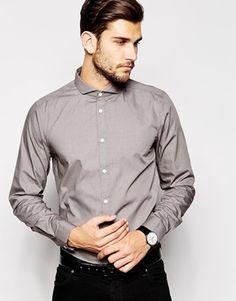 ASOS - Chemise habillée à manches longues et col italien