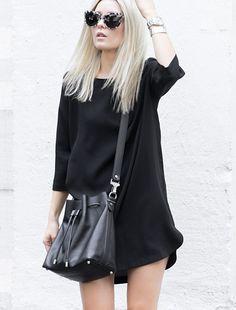 15b3b89a60852 Total look noir   robe droite simple + sac seau Proenza Schouler – Taaora –  Blog Mode, Tendances, Looks