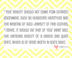 Need to put this on the mirror in daughter's bathroom.....True Beauty Bible Verse  1 Peter 33  8x10 Print