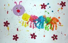chenilles-empreintes-mains-peinture-activité (1) Easy Arts And Crafts, Crafts For Kids To Make, Diy And Crafts, Baby Crafts, Toddler Crafts, Sunshine Crafts, Fingerprint Art, Craft Stalls, Handprint Art