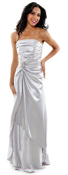 Long Strapless Silver Bridesmaid Dress Prom Satin Rhinestone Pleated Bodice $99.99