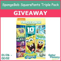 SpongeBob SquarePants Triple Pack DVD Giveaway 02/02 US/CAN - Gator Mommy Reviews