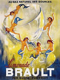 Vintage Brault Lemonade Mermaids 1930s Drink Poster Print