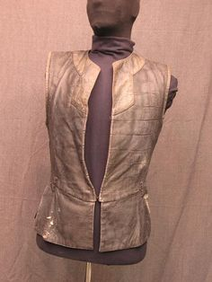 Men'sdoublet, distressed grey leather.