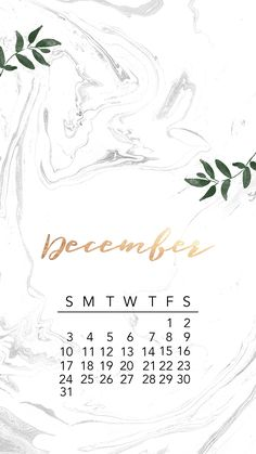 #December #2017 #iPhone #Calendar #Background #Gold #Marble #Design
