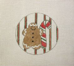$9.95    Gingerbread & Candy Cane Christmas Ornament Handpainted Needlepoint Canvas