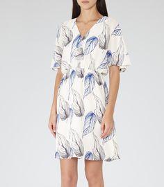 Womens Blue/white Printed Dress - Reiss Pollie