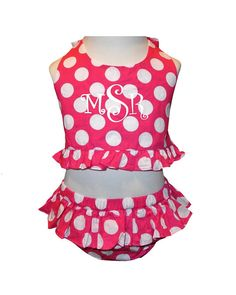 Monogrammed Girl's 2 Piece Swim Suit in Hot Pink with White Dots on Etsy, $38.99