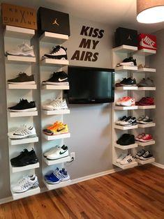 DIY shoe display using IKEA lack shelves storage sneakerhead room Bedroom Setup, Room Ideas Bedroom, Nursery Room, Nursery Furniture, Ikea Boys Bedroom, Pink Bedroom Decor, Boy Bedrooms, Bedroom Storage, Ikea Lack Shelves