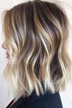 Hair Color Balayage, Balayage Brunette, Balayage Hair Blonde Medium, Blonde Balayage Highlights, Balayage On Short Hair, Blonde Lob Balayage, Blonde Highlights On Dark Hair Short, Haircolor, Long Bob Blonde