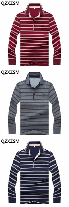 QZXZSM 2017 Autumn new products Men polo shirt high quality Casual Stripes Printing Long-Sleeve Breathable Polo Shirts