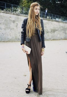 leather jacket, maxi drape, and long hair with candle top swept hair