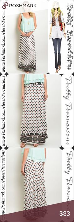 "NWT Fold Over Border Print Maxi Skirt NWT Fold Over Border Print Maxi Skirt   Available in sizes S, M, L Measurements taken from a size small  Length: 39"" Waist: 32"" ** Measurements taken unstretched **  Features • fold over waist • has stretch  • pretty border print on bottom hem • all over printed design  • relaxed, easy fit   Made in the USA  Bundle discounts available  No pp or trades  Item # 1o1-6-16-0330BPM Pretty Persuasions Skirts Maxi"