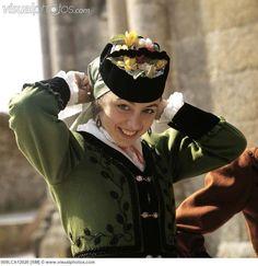 Europe: Veiled Galician girl with an elaborate flowery headdress, Galicia, Spain