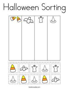 Halloween Sorting Coloring Page - Twisty Noodle Preschool Halloween Activities, Halloween Worksheets, Pre K Activities, Fall Preschool, Preschool At Home, Preschool Lessons, Preschool Worksheets, Preschool Learning, Classroom Activities