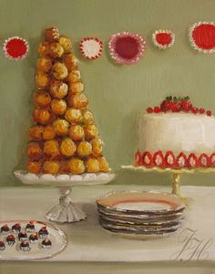 The Leaning Tower of Croquembouche by Janet Hill
