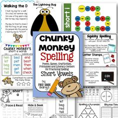 Lots of fun ideas for practicing short vowel spelling!  Includes poems, craftivities, printables, word lists, and literacy centers for each short vowel.