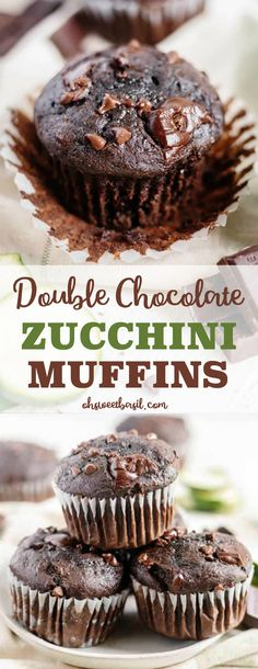 Double chocolate zucchini muffins are a great way to use those zucchinis from your garden! This healthier recipe is the perfect light and moist muffin recipe. And your kids won't even know they're eating a vegetable! #zucchini #muffins #breakfast