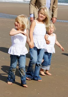 Prince Willem-Alexander and his daughters Princess Alexia, Princess Amalia and  Princess Ariane on a summer photo shoot in July 2009