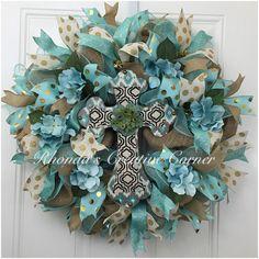 Deco Mesh Auqa Cross Wreath, Easter Burlap Wreath, Easter Wreath with Cross, Auqa and Gold Wreath, E Mesh Ribbon Wreaths, Christmas Mesh Wreaths, Easter Wreaths, Deco Mesh Wreaths, Holiday Wreaths, Floral Wreaths, Burlap Wreaths, Spring Wreaths, Summer Wreath