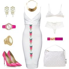 pink & white by katasecret on Polyvore featuring polyvore fashion style New Look Ermanno Scervino Lingerie Millesia Jimmy Choo Versace Vintage GUESS Yves Saint Laurent