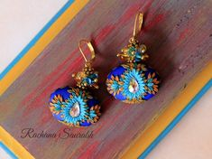 Monthly Challenge, Swarovski Crystal Beads, Polymer Clay Earrings, Bead Art, Floral Embroidery, Royal Blue, Handmade Jewelry, Teal, Delicate